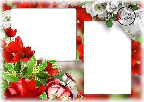 Рамка для фотошопа - Красные тюльпаны