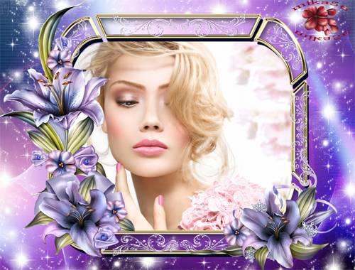 Рамка женская – Лиловые лилии