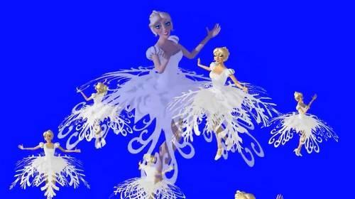Футаж - Танец снежинок на хромакее