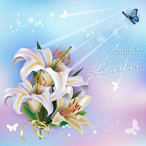 PSD исходник - Белых лилий цветы молчаливые