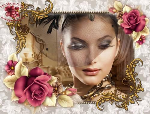 Рамка женская – Пурпурные розы