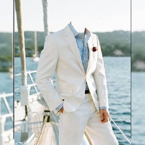 Мужской фотошаблон - Богатый мужчина на своей яхте