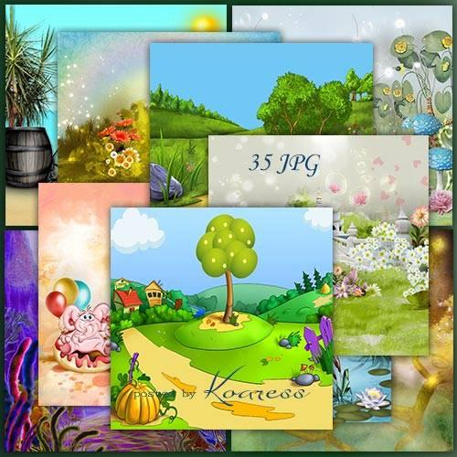 Детские сказочные растровые рисованые фоны для дизайна