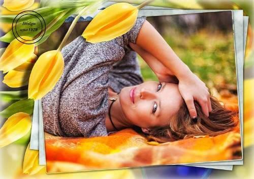 Рамка для фотошопа – Желтые тюльпаны