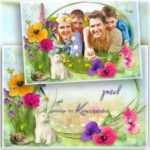 Рамка для фото с луговыми цветами - Летний луг