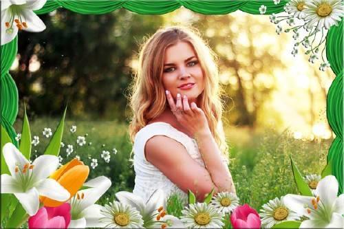 Рамка для фотомонтажа - Летние цветы