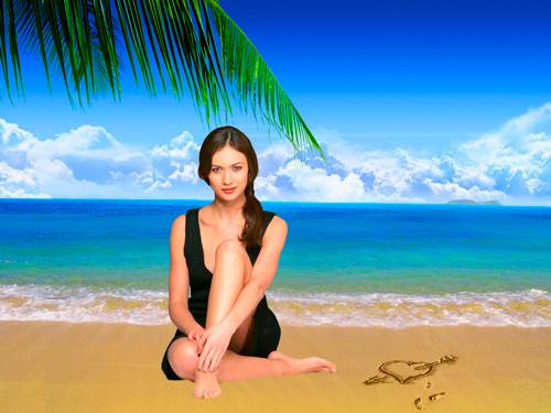 Шаблон для фотошопа  - Девушка на пляже