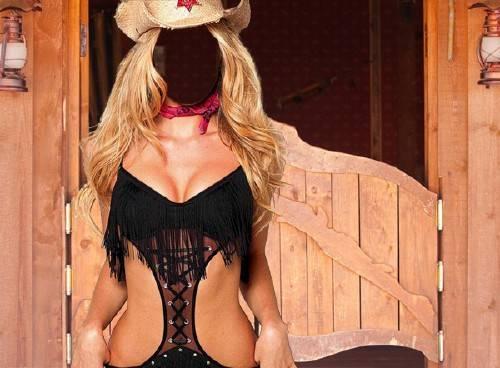 Шаблон psd женский - Девушка на ранчо