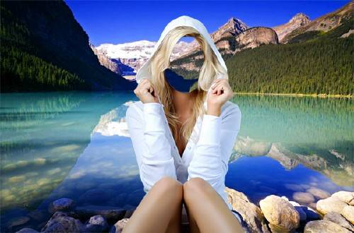 Женский фотошаблон - На красивейшем озере