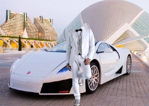 Шаблон для фотошопа - В белом костюме у спортивного автомобиля