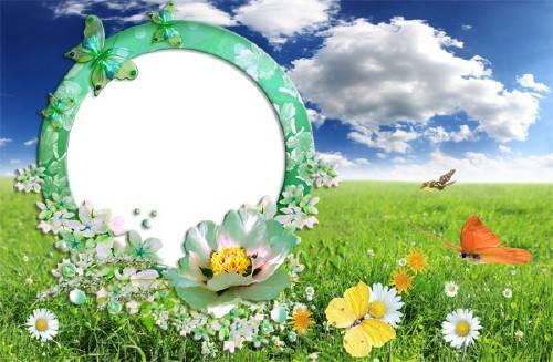 Рамка для фотошопа - Летняя полянка с бабочками