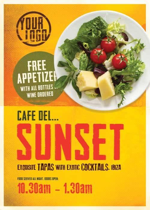 PSD исходник флаера - Кафе Sunset