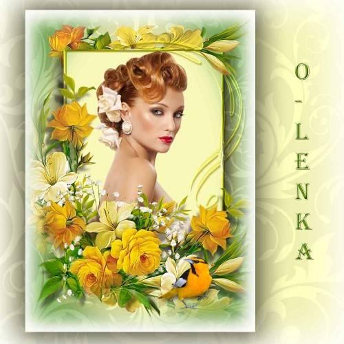 Рамка для фотошопа - В желтых цветах откровение жаркого лета