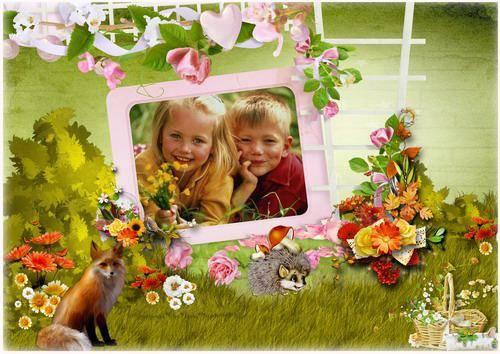 Детская рамка для фото - На лесной полянке