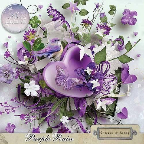 Цветочный скрап-набор - Фиолетовый дождь