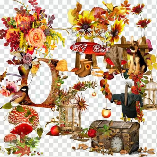 Сборник композиций с цветами и осенними листьями