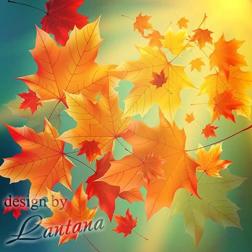 PSD исходник - Осень краску подарила, листья в пляску закружила