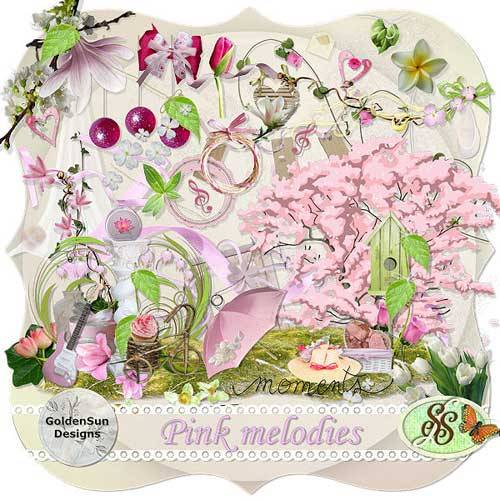Романтический набор скрап - Pink melodies