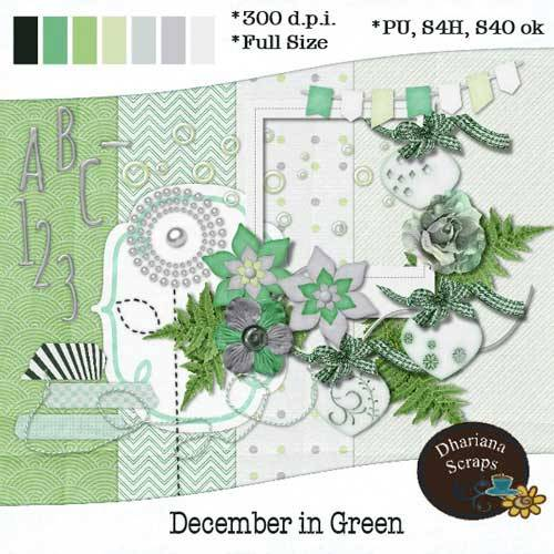 Новогодний скрап-набор - Декабрь в зелёном