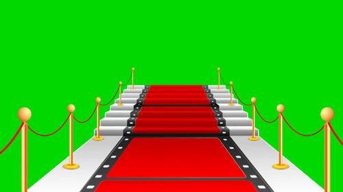 Футаж на хромакее - Красная дорожка в виде кинопленки
