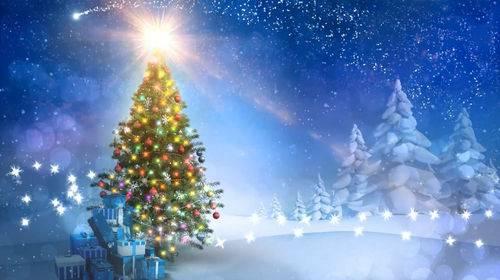 Видео футаж - Новогодняя елка и падающий снег