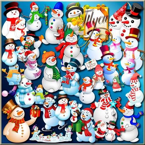 Много разных снеговиков - Клипарт