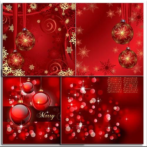 Красные новогодние шары / New Year Red balls - vector stock