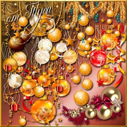 Бусы, звезды и шары – новогодние миры - Клипарт
