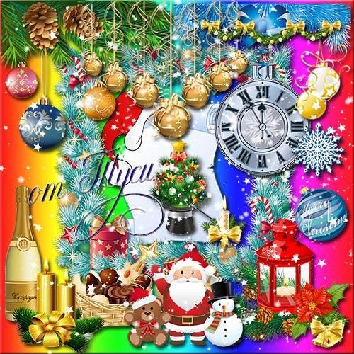 Цвет и блеск новогодней ночи - Клипарт