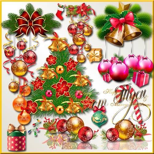 Клипарт  - Ветки ели праздничным пожеланиям открывают просторы