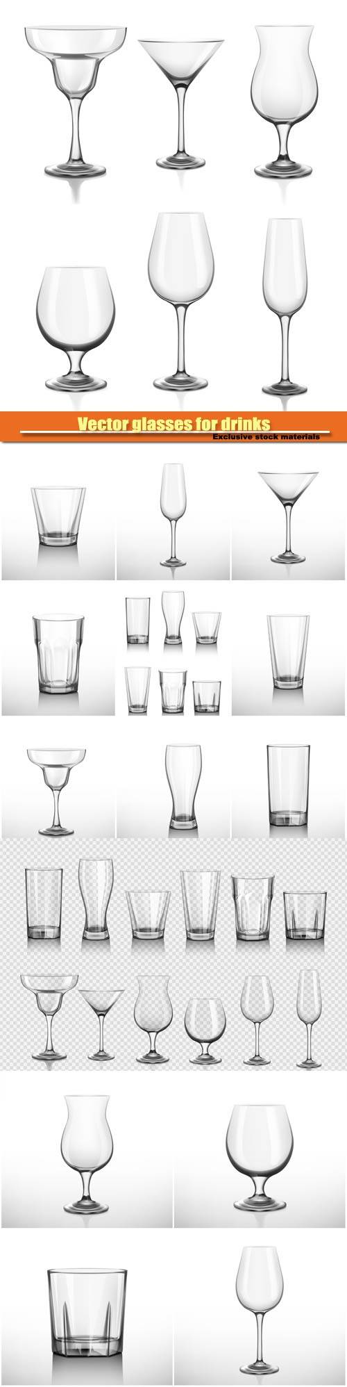 Vector glasses for drinks