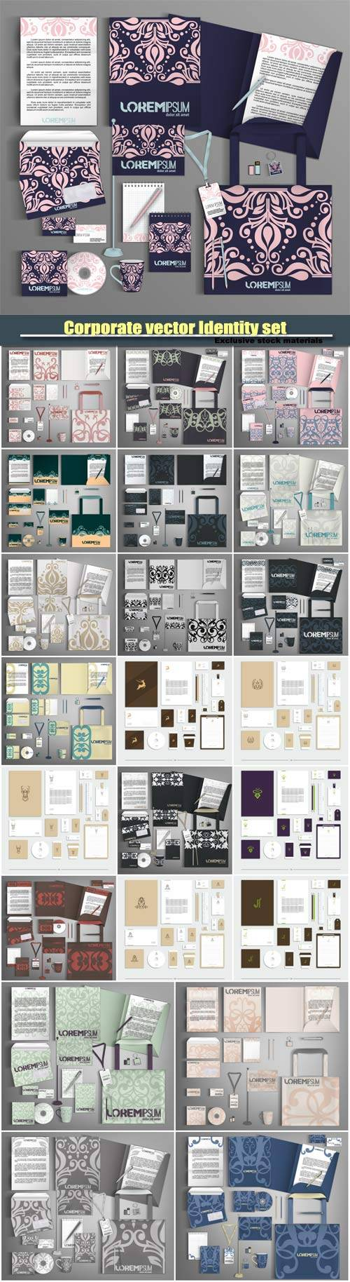 Corporate vector Identity set with abstract pattern