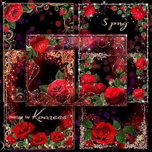 Романтические рамки с красными розами в png к Дню Влюбленных