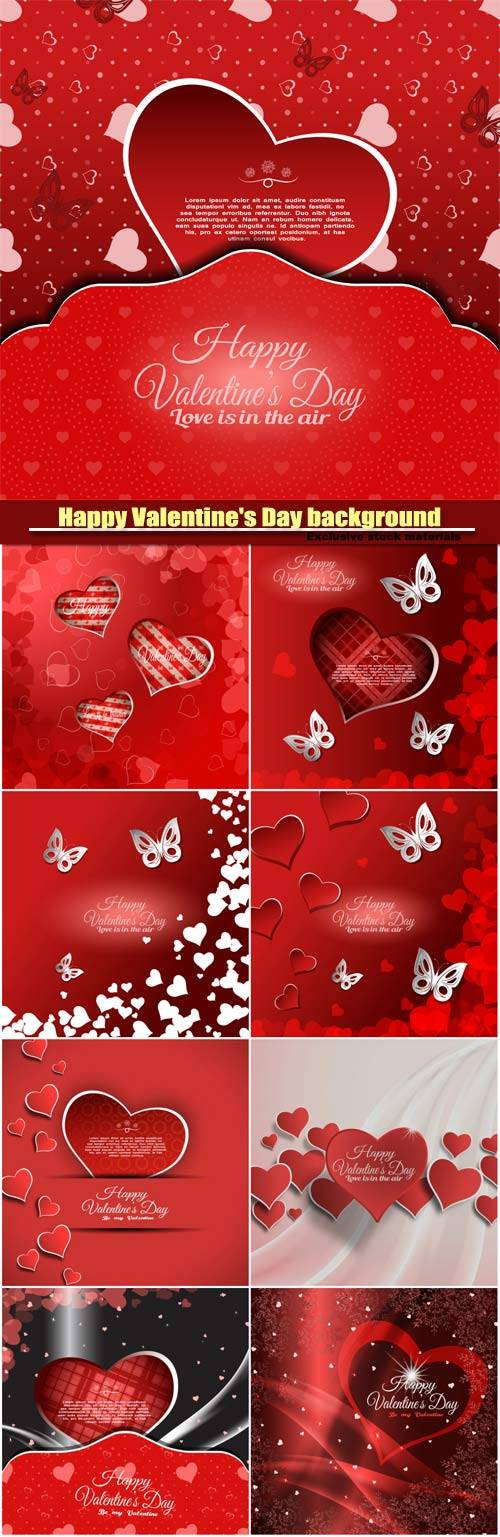 Vector Happy Valentine's Day background with red heart and white butterfli ...