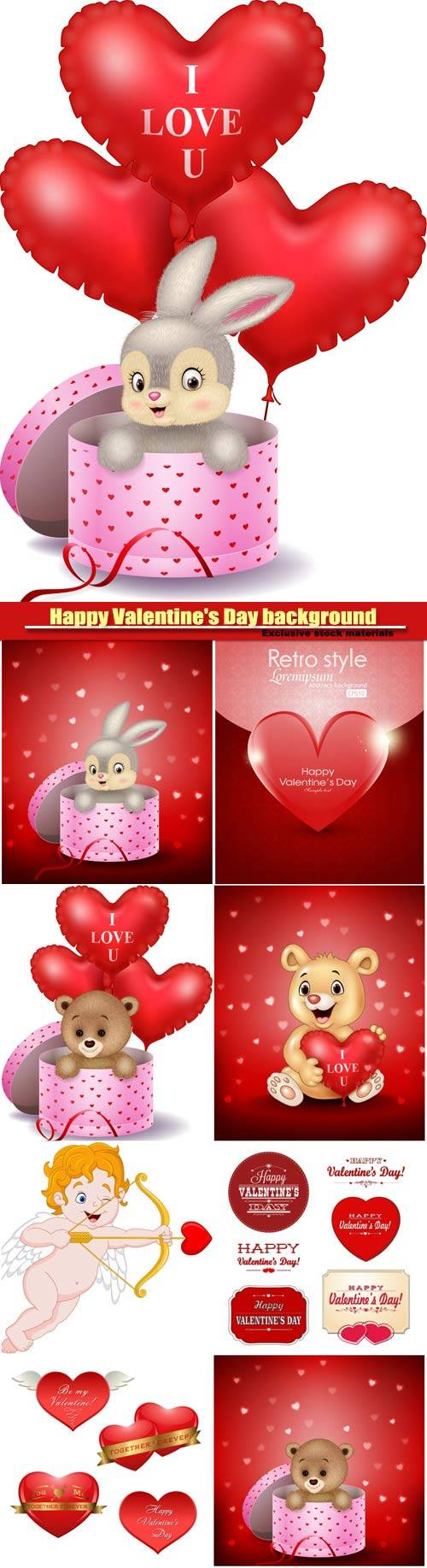 Vector set Happy Valentine's Day background