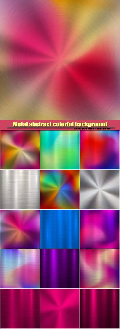 Metal abstract colorful background, gradient technology circular polished