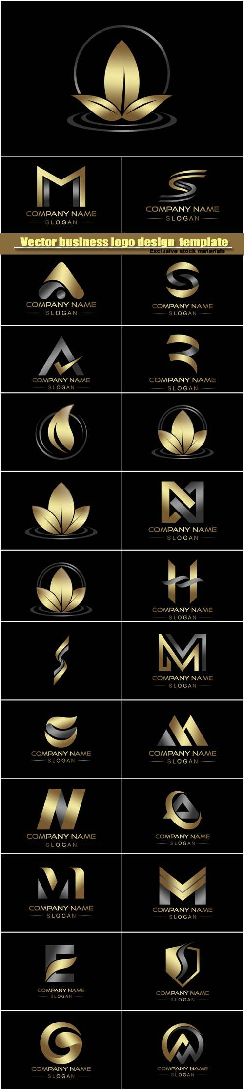 Vector business logo design  template on a black background