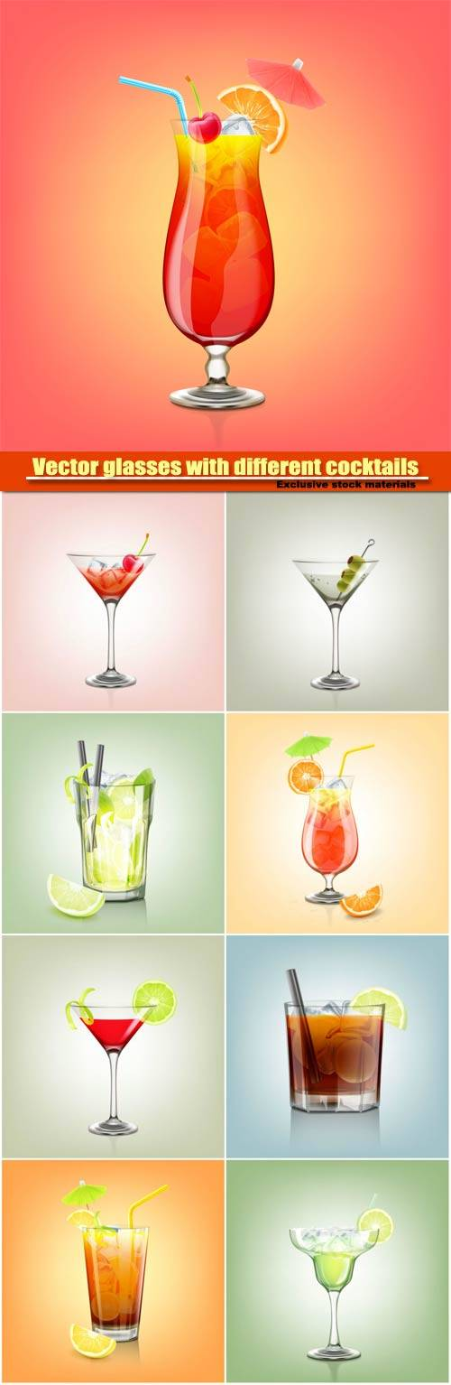 Vector glasses with different cocktails