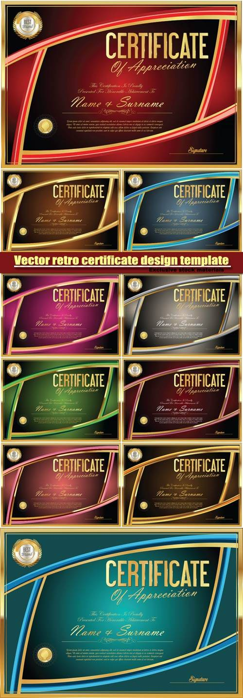 Vector retro certificate design template