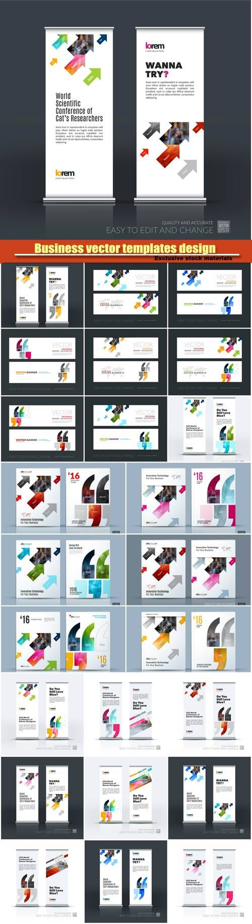 Business vector set of modern roll Up Banner and brochure flyer templates