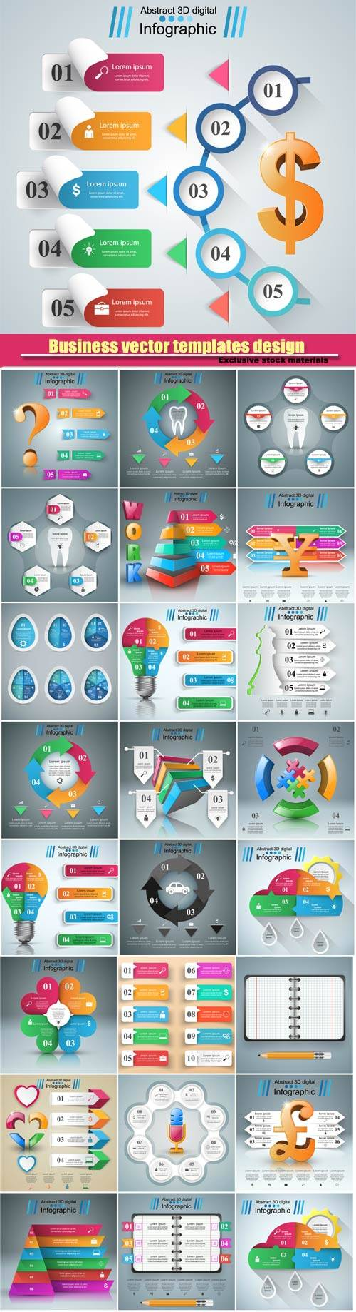 3D business infographic vector design