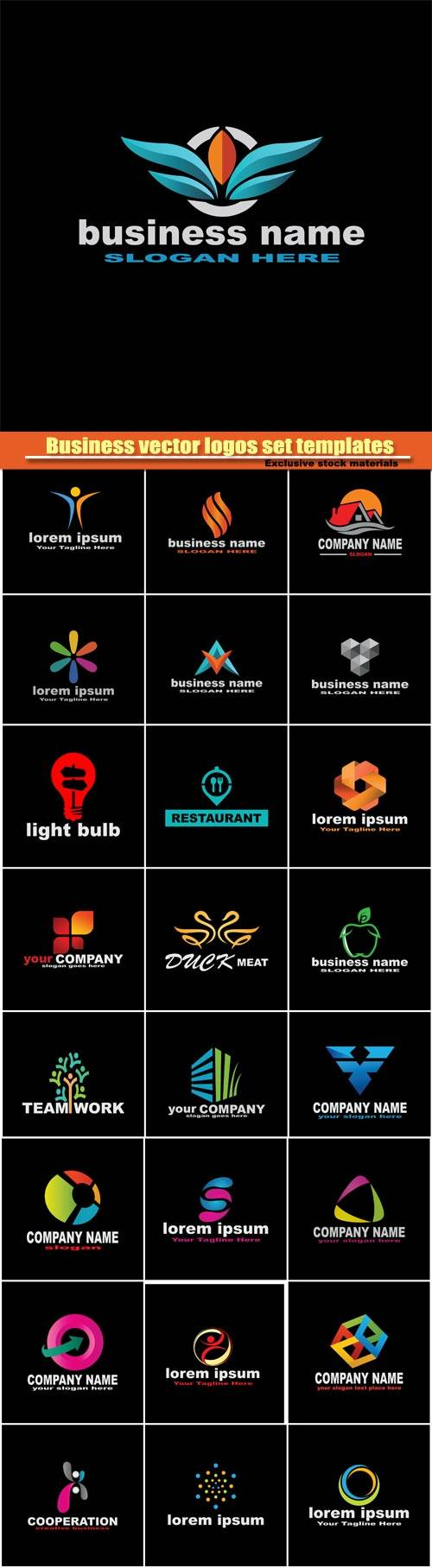 Business vector logos set templates