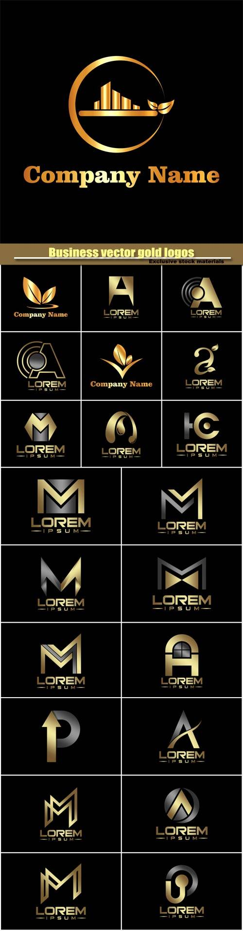 Business vector gold logos templates, creative figure icon