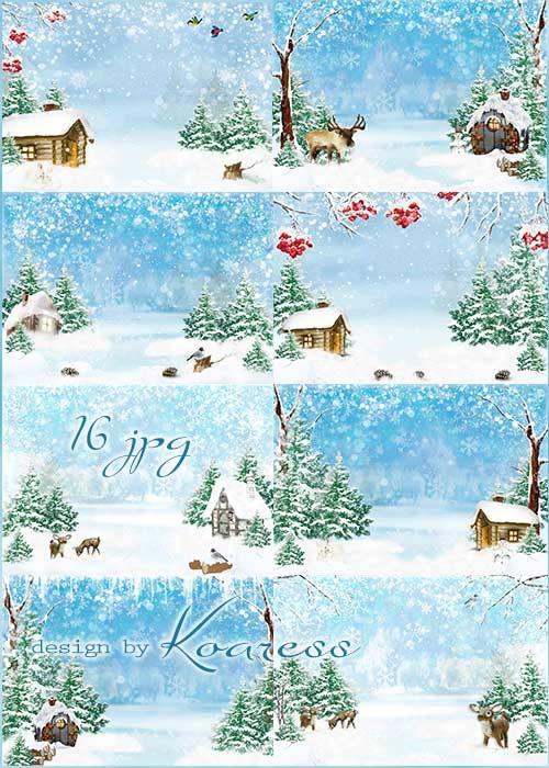 Детские растровые фоны для фотошопа - Зимние сказки