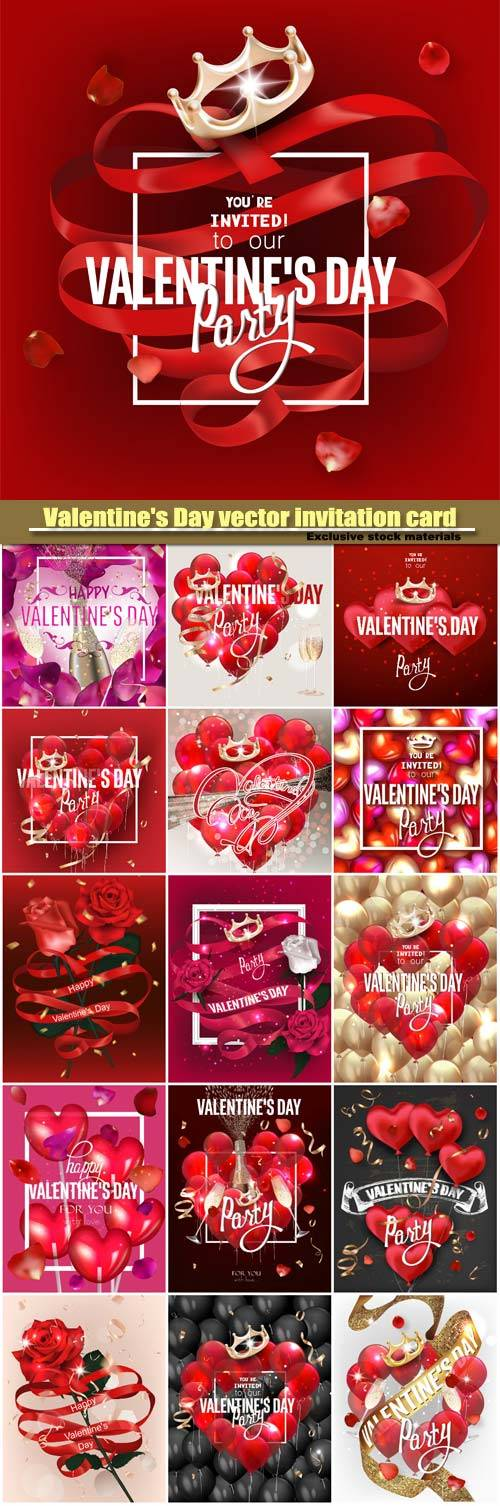 Valentine's Day vector invitation card, vip cards with with red hearts and crown