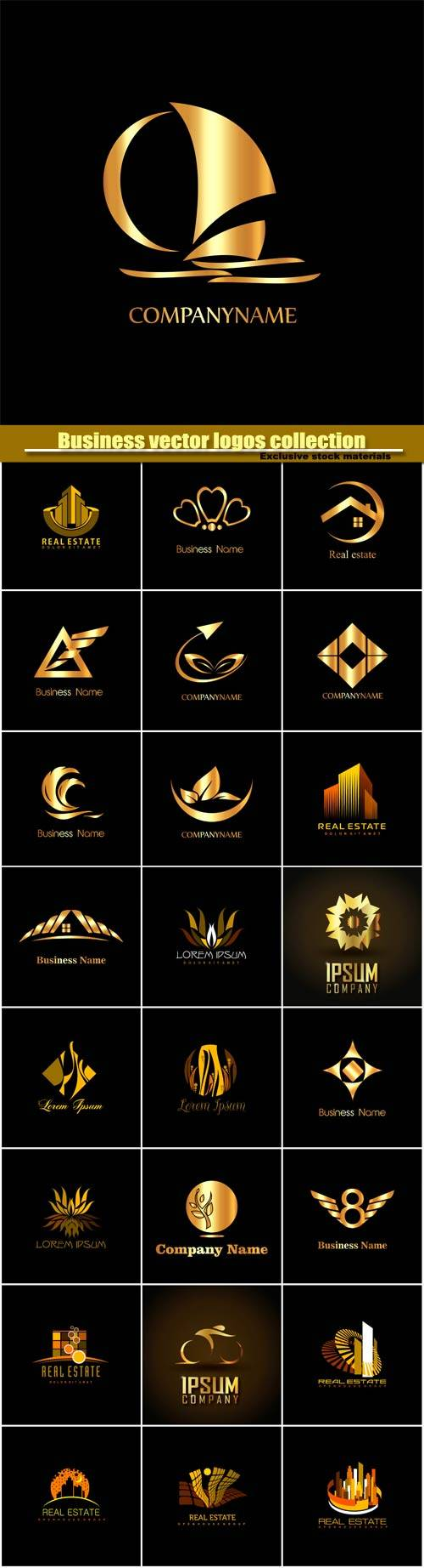 Business vector logos templates, creative gold figure icon