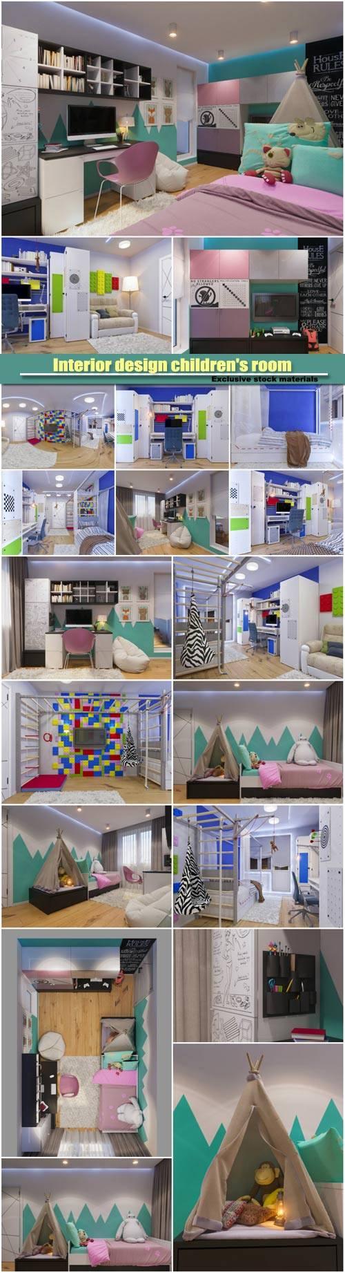 3d illustration of interior design children's room