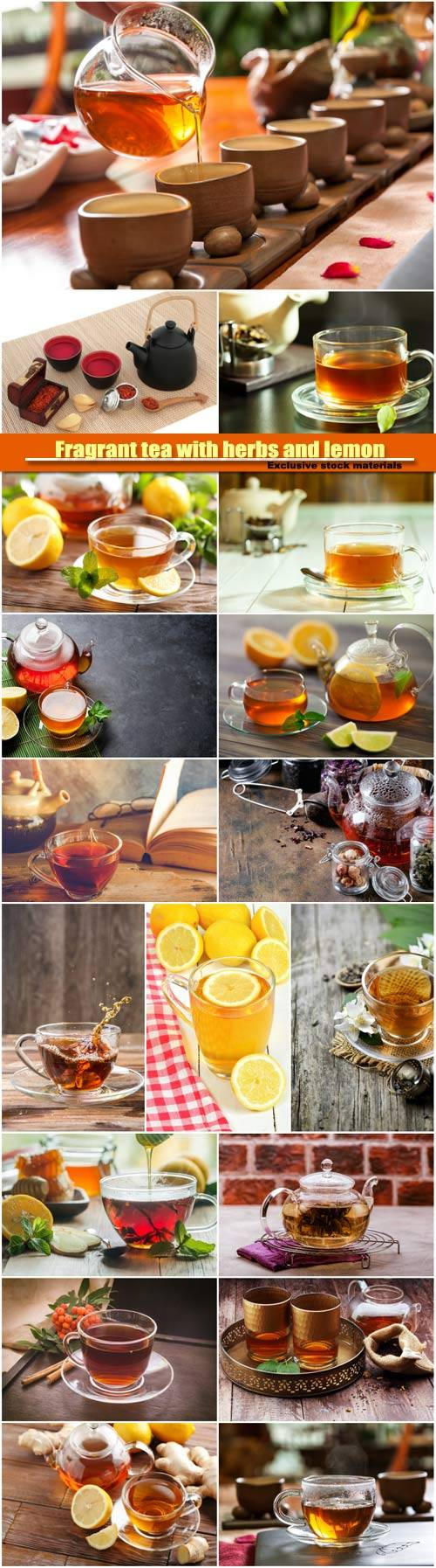 Fragrant tea with herbs and lemon