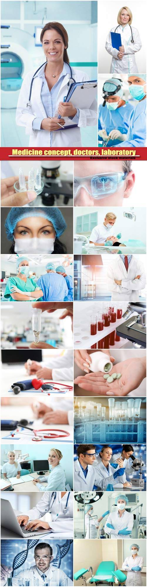 Medicine concept, doctors, laboratory