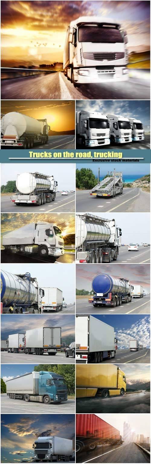 Trucks on the road, trucking